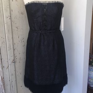 BADGLEY MISCHKA NAVY BROCADE STRAPLESS DRESS SZ 12